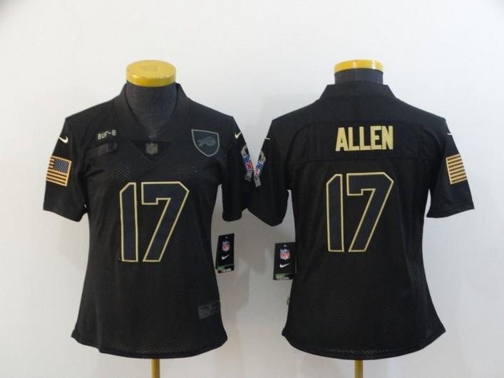 Women's Buffalo Bills #17 Josh Allen Black 2020 Salute To Service Stitched NFL Nike Limited Jersey