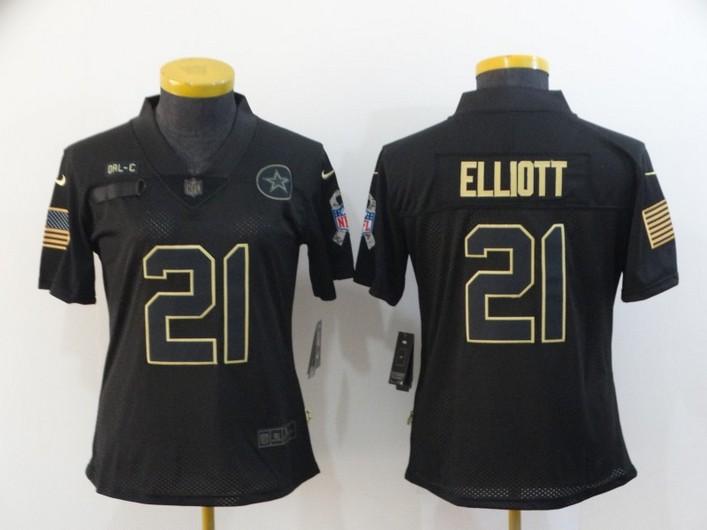 Women's Dallas Cowboys #21 Ezekiel Elliott Black 2020 Salute To Service Stitched NFL Nike Limited Jersey