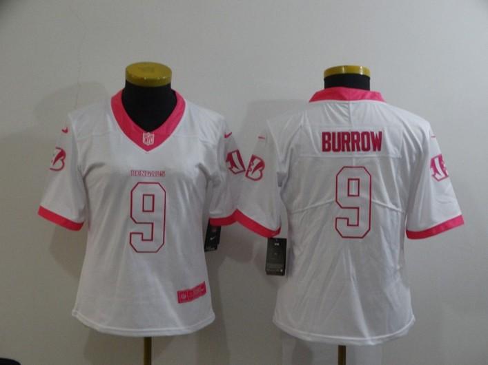 Women's Cincinnati Bengals #9 Joe Burrow White Pink 2016 Color Rush Fashion NFL Nike Limited Jersey