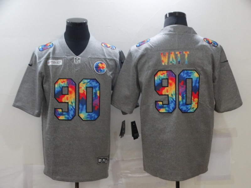 Men's Pittsburgh Steelers #90 T. J. Watt 2020 Grey Crucial Catch Limited Stitched NFL Jersey