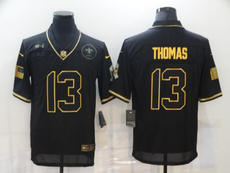 Men's New Orleans Saints #13 Michael Thomas Black Gold 2020 Salute To Service Stitched NFL Nike Limited Jersey