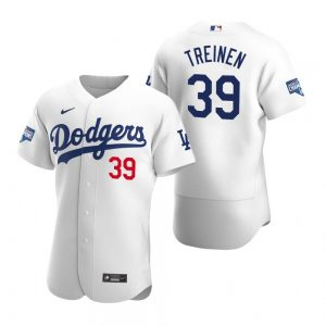 Los Angeles Dodgers #39 Blake Treinen White 2020 World Series Champions Jersey