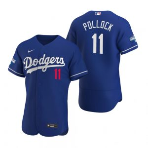 Los Angeles Dodgers #11 A.J. Pollock Royal 2020 World Series Champions Jersey