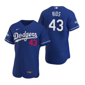 Los Angeles Dodgers #43 Edwin Rios Royal 2020 World Series Champions Jersey