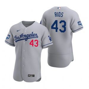 Los Angeles Dodgers #43 Edwin Rios Gray 2020 World Series Champions Jersey
