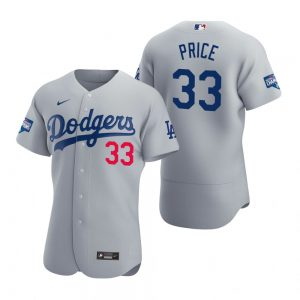 Los Angeles Dodgers #33 David Price Gray 2020 World Series Champions Jersey