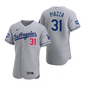 Los Angeles Dodgers #31 Mike Piazza Gray 2020 World Series Champions Road Jersey
