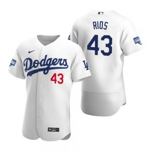 Los Angeles Dodgers #43 Edwin Rios White 2020 World Series Champions Jersey