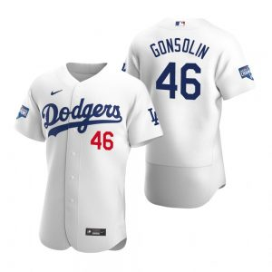 Los Angeles Dodgers #46 Tony Gonsolin White 2020 World Series Champions Jersey