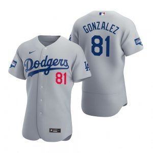 Los Angeles Dodgers #81 Victor Gonzalez Gray 2020 World Series Champions Jersey