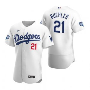Los Angeles Dodgers #21 Walker Buehler White 2020 World Series Champions Jersey