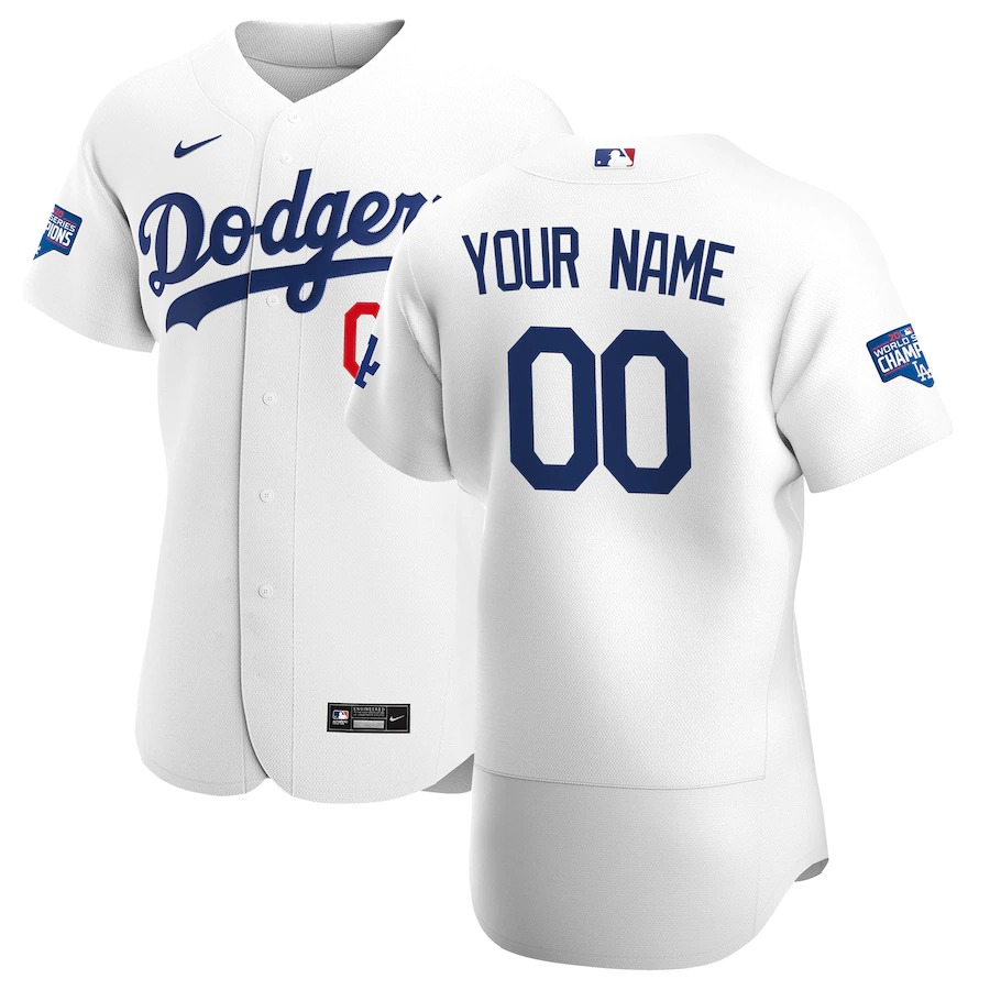 Los Angeles Dodgers Custom Men's Nike White Home 2020 World Series Champions Authentic Player MLB Jersey