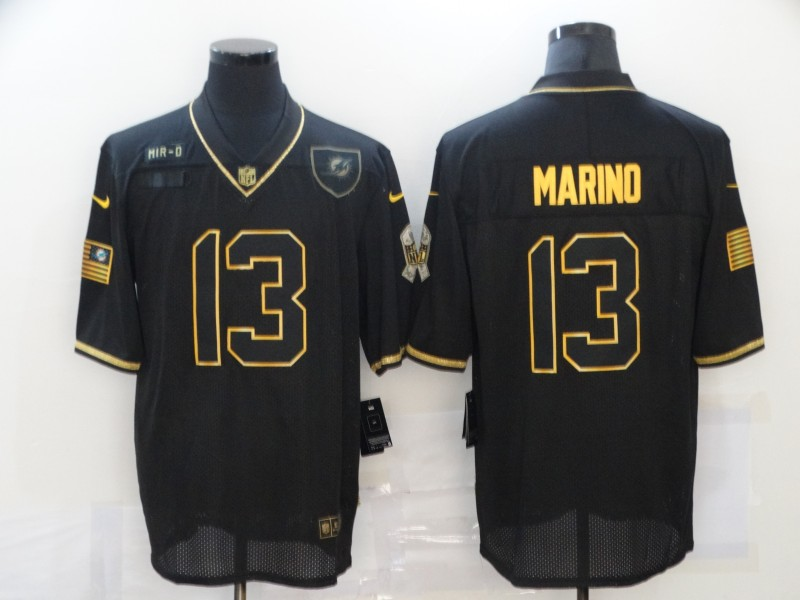 Men's Miami Dolphins #13 Dan Marino Black Gold 2020 Salute To Service Stitched NFL Nike Limited Jersey
