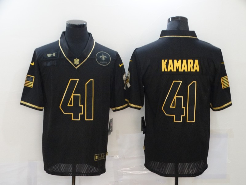 Men's New Orleans Saints #41 Alvin Kamara Black Gold 2020 Salute To Service Stitched NFL Nike Limited Jersey