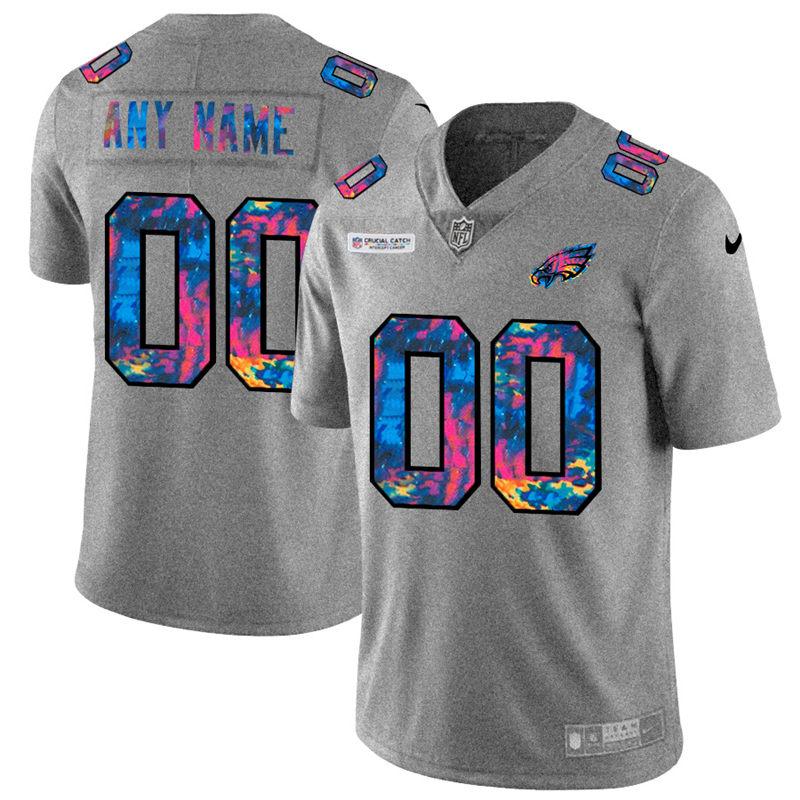 Philadelphia Eagles Custom Men's Nike Multi-Color 2020 NFL Crucial Catch Vapor Untouchable Limited Jersey Greyheather