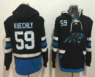 Men's Carolina Panthers #59 Luke Kuechly NEW Black Pocket Stitched NFL Pullover Hoodie