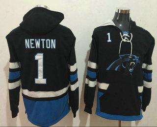 Men's Carolina Panthers #1 Cam Newton NEW Black Pocket Stitched NFL Pullover Hoodie