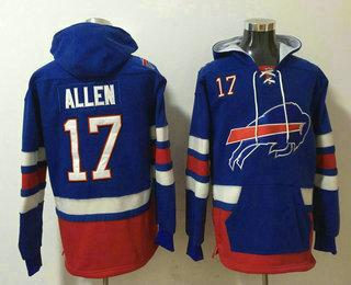 Men's Buffalo Bills #17 Josh Allen NEW Blue Pocket Stitched NFL Pullover Hoodie