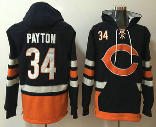 Men's Chicago Bears #34 Walter Payton NEW Navy Blue Pocket Stitched NFL Pullover Hoodie