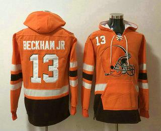 Men's Cleveland Browns #13 Odell Beckham Jr NEW Orange Pocket Stitched NFL Pullover Hoodie