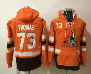 Men's Cleveland Browns #73 Joe Thomas NEW Orange Pocket Stitched NFL Pullover Hoodie