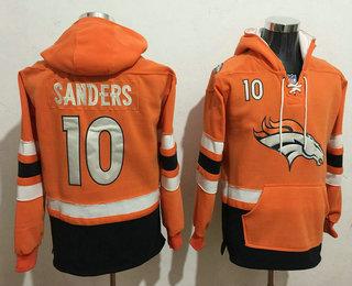 Men's Denver Broncos #10 Emmanuel Sanders 2016 Orange Team Color Stitched NFL Hoodie