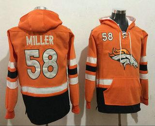 Men's Denver Broncos #58 Von Miller 2016 Orange Team Color Stitched NFL Hoodie