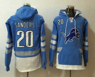Men's Detroit Lions #20 Barry Sanders NEW Blue Pocket Stitched NFL Pullover Hoodie