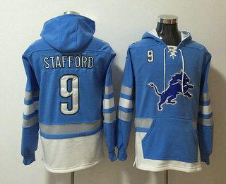 Men's Detroit Lions #9 Matthew Stafford NEW Blue Pocket Stitched NFL Pullover Hoodie