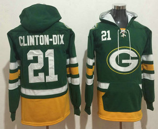 Men's Green Bay Packers #21 Ha Ha Clinton-Dix NEW Green Pocket Stitched NFL Pullover Hoodie