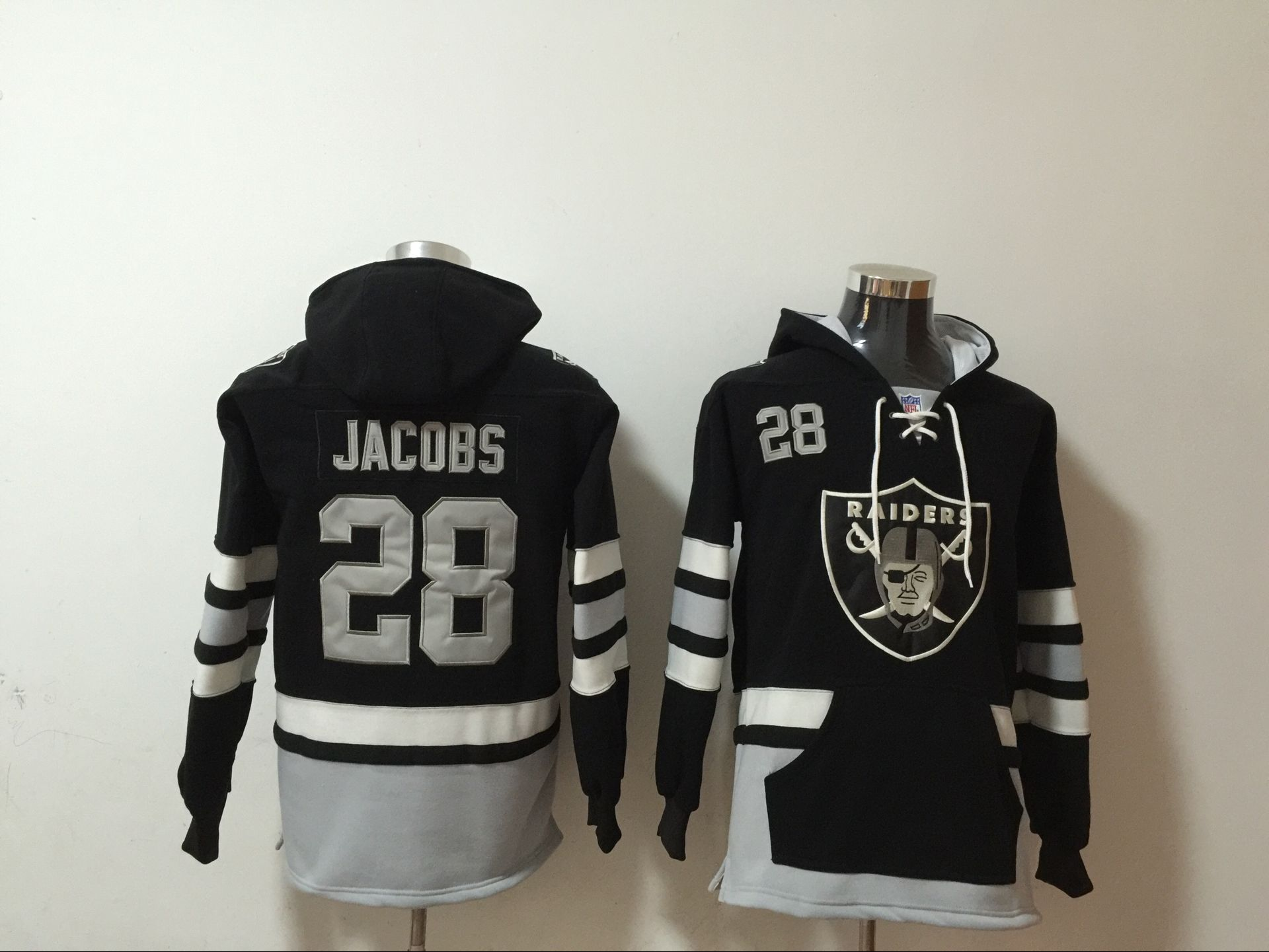 Men's Las Vegas Raiders #28 Josh Jacobs NEW Black Pocket Stitched NFL Pullover Hoodie
