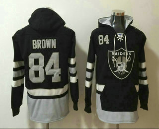 Men's Oakland Raiders #84 Antonio Brown NEW Black Pocket Stitched NFL Pullover Hoodie