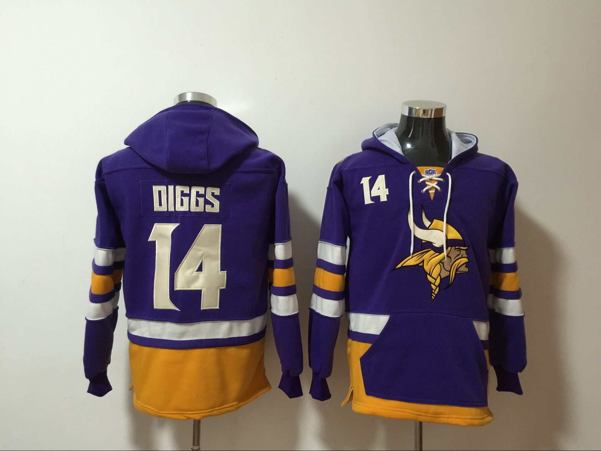 Men's Minnesota Vikings #14 Stefon Diggs NEW Purple Pocket Stitched NFL Pullover Hoodie
