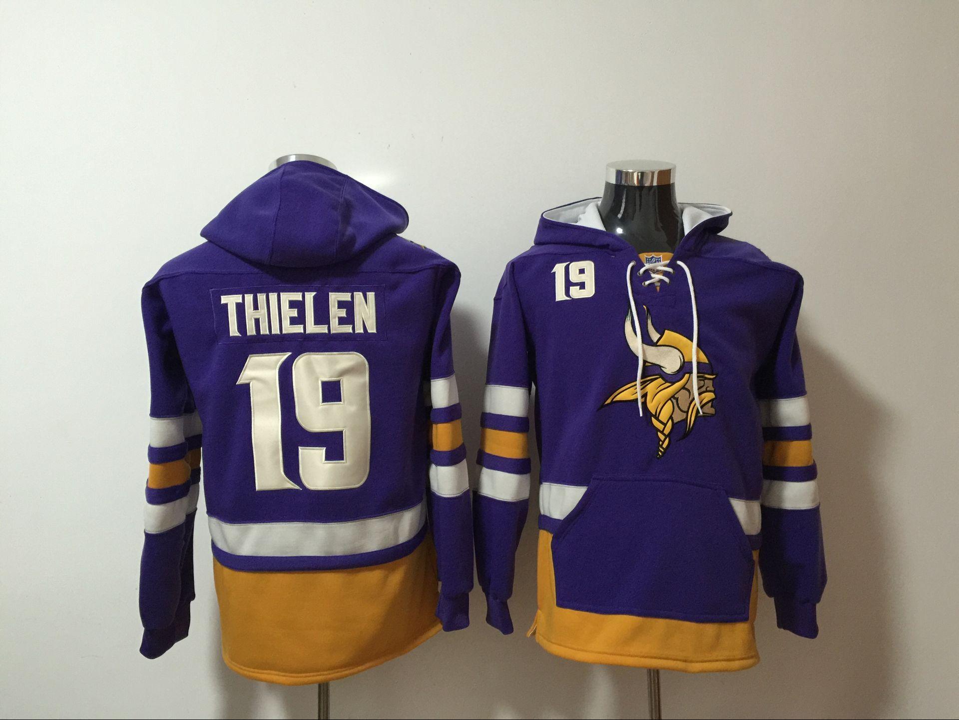 Men's Minnesota Vikings #19 Adam Thielen NEW Purple Pocket Stitched NFL Pullover Hoodie