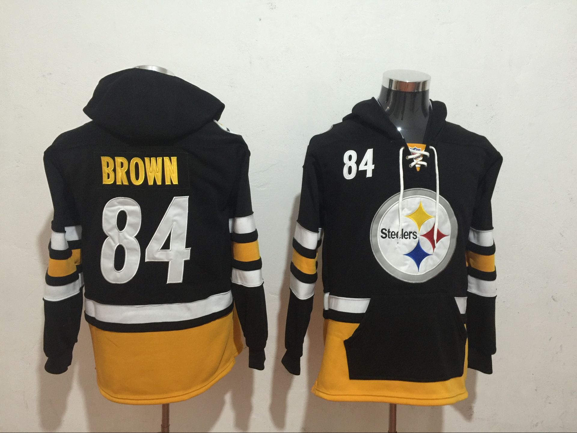 Men's Pittsburgh Steelers #84 Antonio Brown NEW Black Pocket Stitched NFL Pullover Hoodie