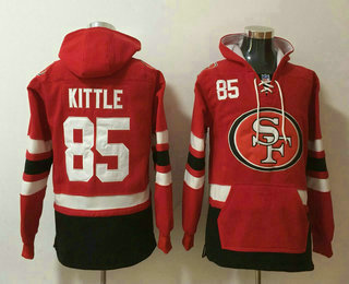 Men's San Francisco 49ers #85 George Kittle NEW Red Pocket Stitched NFL Pullover Hoodie