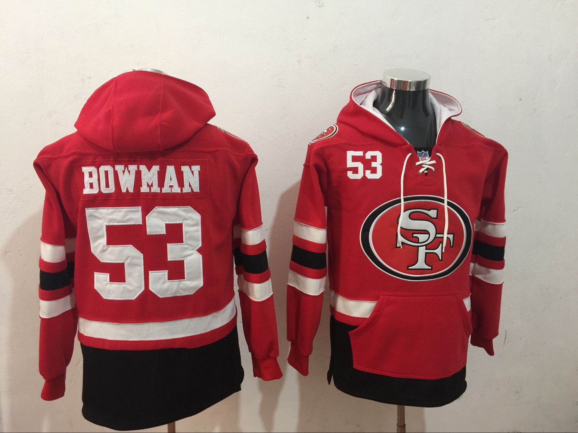 Men's San Francisco 49ers #53 NaVorro Bowman NEW Red Pocket Stitched NFL Pullover Hoodie