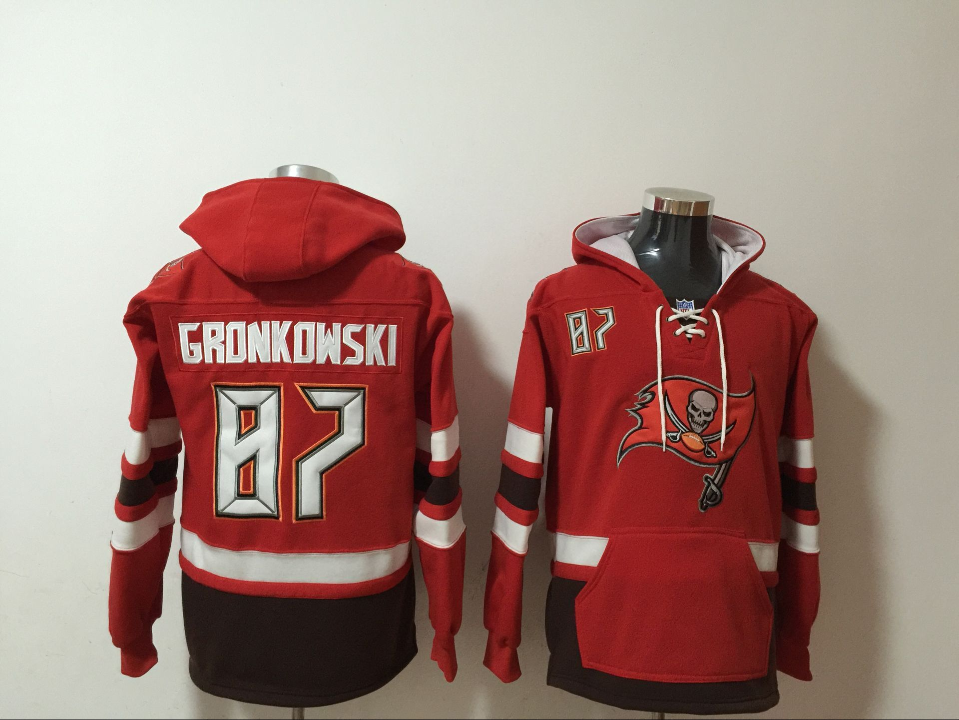 Men's Tampa Bay Buccaneers #87 Rob Gronkowski NEW Red Pocket Stitched NFL Pullover Hoodie