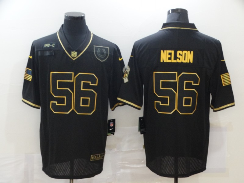 Men's Indianapolis Colts #56 Quenton Nelson Black Gold 2020 Salute To Service Stitched NFL Nike Limited Jersey