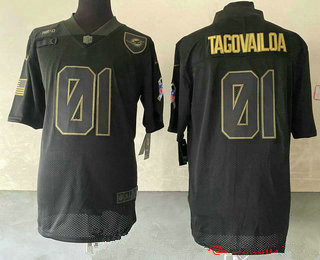 Men's Miami Dolphins #01 Tua Tagovailoa Black 2020 Salute To Service Stitched NFL Nike Limited Jersey