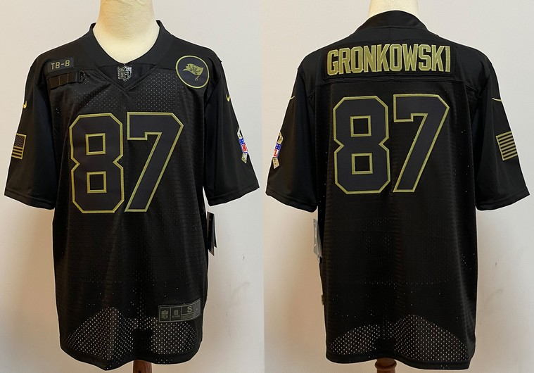 Men's Tampa Bay Buccaneers #87 Rob Gronkowski Black 2020 Salute To Service Stitched NFL Nike Limited Jersey