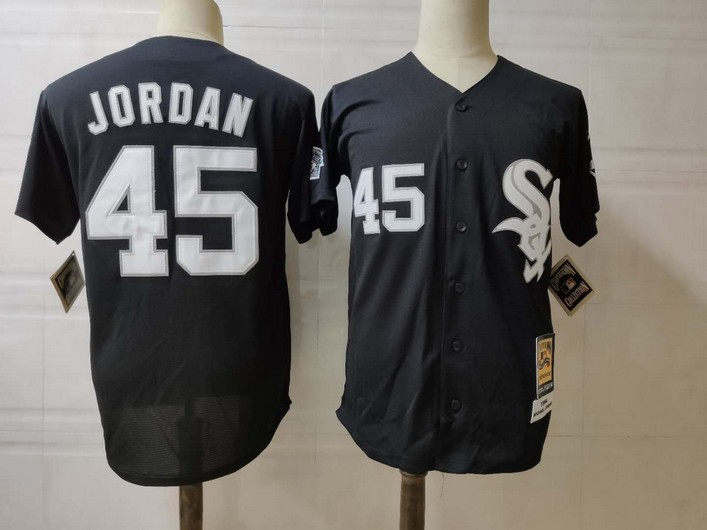 Men's Chicago White Sox #45 Michael Jordan Black Mitchell & Ness Throwback Jersey