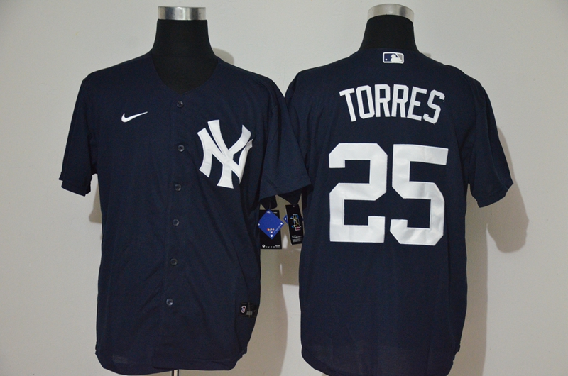 Men's New York Yankees #25 Gleyber Torres Navy Blue With White Number Stitched MLB Cool Base Nike Jersey