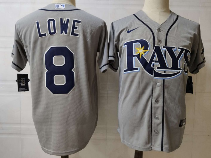 Men's Tampa Bay Rays #8 Brandon Lowe Grey Stitched MLB Cool Base Nike Jersey