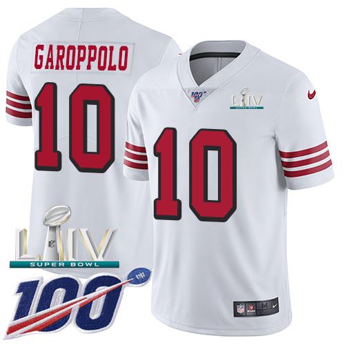 Nike 49ers #10 Jimmy Garoppolo White Super Bowl LIV 2020 Rush Men's Stitched NFL Limited 100th Season Jersey