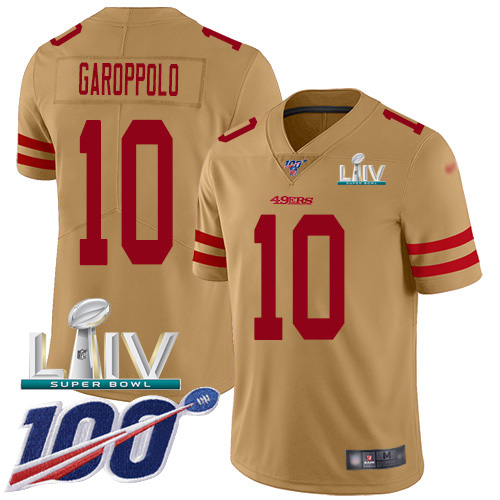 Nike 49ers #10 Jimmy Garoppolo Gold Super Bowl LIV 2020 Men's Stitched NFL Limited Inverted Legend 100th Season Jersey