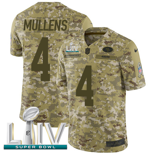 Nike 49ers #4 Nick Mullens Camo Super Bowl LIV 2020 Men's Stitched NFL Limited 2018 Salute To Service Jersey
