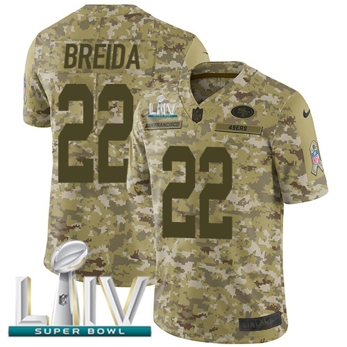 Nike 49ers #22 Matt Breida Camo Super Bowl LIV 2020 Men's Stitched NFL Limited 2018 Salute To Service Jersey
