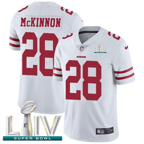 Nike 49ers #28 Jerick McKinnon White Super Bowl LIV 2020 Men's Stitched NFL Vapor Untouchable Limited Jersey