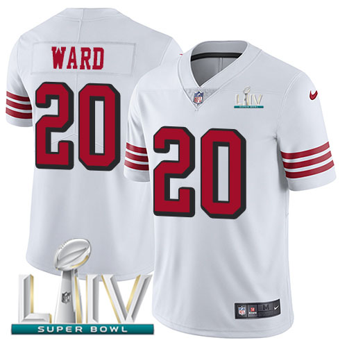 Nike 49ers #20 Jimmie Ward White Super Bowl LIV 2020 Rush Men's Stitched NFL Vapor Untouchable Limited Jersey